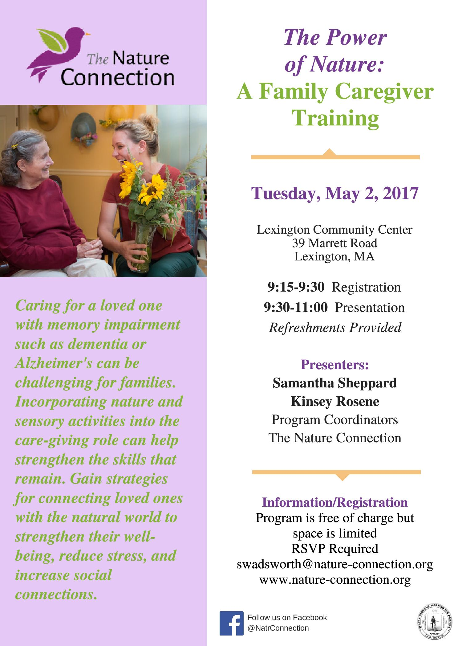 Family Caregiver Training FLYER 5 2 2017-page-001   The Nature